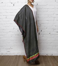 Grey Handwoven Tussar Silk Stole With Hand Block Print