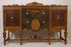 Antique Refinished Buffet Sideboard Burl Veneer Server Furniture - Free Shipping from RoofTop Antiques