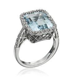 Favero- 18KT White Gold Aquamarine Ring