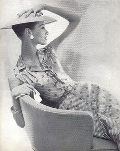 1955 Vogue, elegant woman, hat and dress