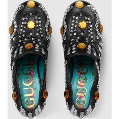 Gucci Crystal Studded Leather Loafer ($1,990) ❤ liked on Polyvore featuring shoes, loafers, mid-heel shoes, gucci loafers, crystal shoes, loafers moccasins and crystal platform shoes