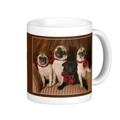 Holiday Pugs with Red Bows by Pugs and Kisses Coffee Mugs #Christmas #zazzle #holiday #gifts