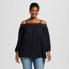 Women's Plus Size Lace Trim Bardot Top Black
