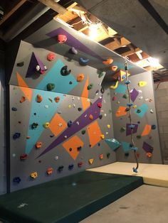 Indoor Climbing Wall, Rock Climbing, Bouldering Gym, Basement Finishing, Turning, Daughter, Backyard, Projects, Room