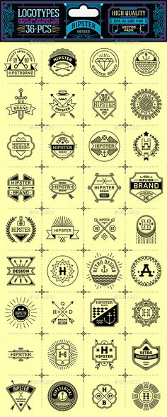 Hipster Thin Line Badges and Logos. Vector Pack. - Decorative Symbols Decorative