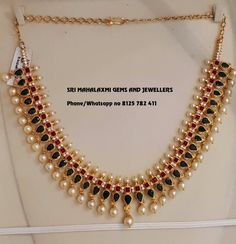 Beautiful gold necklace studded with rubies and emeralds. Necklace with south sea pearl hangings. Jewelry Design Earrings, Gold Earrings Designs, Gold Jewellery Design, Pearl Jewelry, Jewelry Necklaces, Beaded Jewelry Designs, Gold Wedding Jewelry, Gold Jewelry Simple, Bridal Jewelry