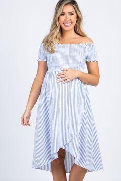 Blue Striped Smocked Off Shoulder Maternity Hi Low Dress Maternity Midi Dress, Cute Maternity Outfits, Pregnancy Outfits, Pink Blush Maternity, Maternity Fashion, Hi Low Dresses, Modest Dresses, Casual Dresses, Short Sleeve Dresses