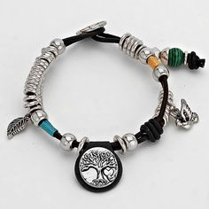 BOHO CHIC TREE AND FEATHER CHARM BRACELET
