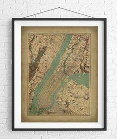New York City Map Print - Starting at $16. Vintage Map Art https://www.etsy.com/listing/480137202/new-york-city-map-print-vintage-map-art?ref=shop_home_active_1