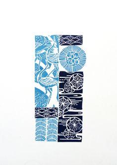Japanese pattern linocut print - Mangle Prints on Etsy (Amanda Colville)