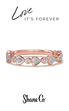 A delicate rose gold and diamond band for the romantic at heart. This whimsical wedding band is crafted from quality 14k rose and white gold and includes charming heart shapes with intricate milgrain detailing. Fifteen round diamonds, at approximately .12 total carat weight, add brilliant sparkle throughout the 3mm wedding band.