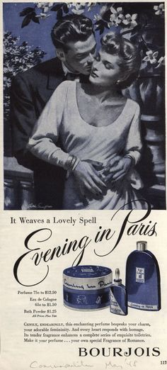 """Evening in Paris Cosmetics – """"It weaves a Lovely Spell,"""" (1948)."""