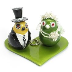 Lemon Green and Yellow Love Birds Wedding Cake Topper Set B00012