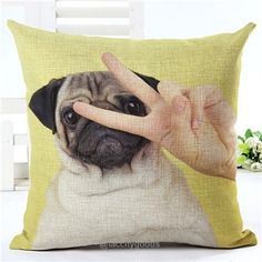 Lovely Silent Pug Dog Pillow Cover-pillow case-Tac City Goods Co. https://www.taccitygoods.com/products/lovely-silent-pug-dog-pillow-cover