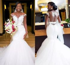 African Mermaid Wedding Dresses Sexy Backless Lace Black Girl Applique Sweep Train Beach Bohemian Wedding Dress Sheer Neck Bridal Gowns from MrTang - Bohemian Beach Wedding Dress, Sheer Wedding Dress, African Wedding Dress, Lace Mermaid Wedding Dress, Backless Wedding, Black Wedding Dresses, Gorgeous Wedding Dress, Sexy Dresses, Bridal Dresses