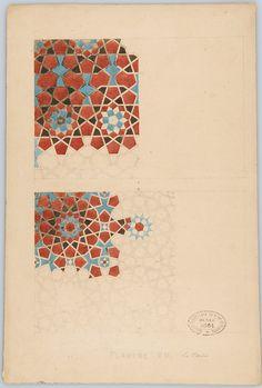 Fig. 9.2. Jules Bourgoin. Planche préparatoire pour Les Éléments de l'art arabe. Pl. VII « Mosaïques », s. d. (v. 1879). Islamic Art Pattern, Arabic Pattern, Pattern Art, Geometry Art, Sacred Geometry, Geometric Designs, Geometric Patterns, Art Marocain, Art Zen