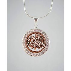 Tree Necklace, Sterling Silver Tree Necklace, Rose Gold Tree Necklace,... (650 MXN) ❤ liked on Polyvore featuring jewelry, necklaces, sterling silver jewellery, circle pendant, sterling silver pendant necklace, round necklace and rose gold necklace
