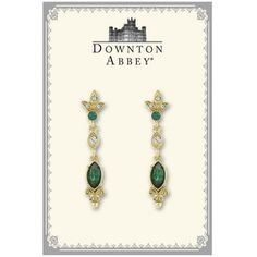1928 Downton Abbey® Boxed Gold-Tone Emerald Crystal Drop Earrings