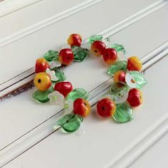 Apple Blossom Fruit, Flower and Pretty Green Leaf Glass Beads Summer Mix on Etsy, $8.50
