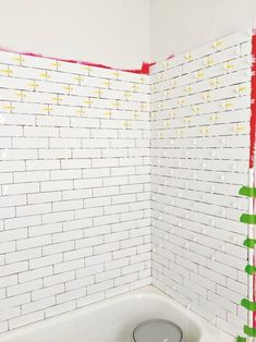 tiling master bathroom tub surround with long white subway tile - waterproofing and tiling bathtub shower (Diy Bathroom Tub) Master Bathroom Tub, Diy Bathtub, Bathtub Remodel, Bathtub Shower, Bathroom Tubs, Bathroom Ideas, Gold Bathroom, Bath Tub, Bathroom Tiling