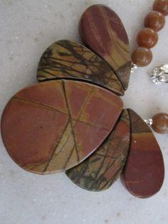 Red Creek Jasper focal beads and carnelian by BeadlesandStones, $50.00