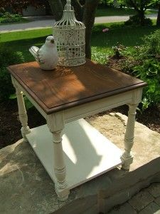 Painted End tables- Annie Sloan Chalk Paint Old White and Refinished top Minwax Antique Walnut Stain www.niagarafurniturepainting.com