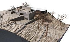 site model, Temenos House, 1:200 cardboard, balsa wood, paint, copper