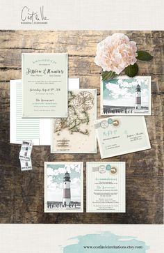 Nantucket Massachusetts Wedding Invitation Suite - coastal wedding lighthouse and vintage map - Deposit Payment