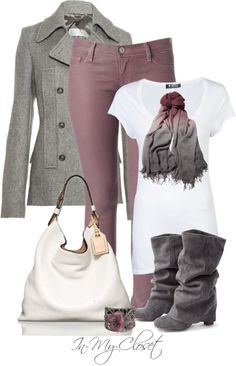 """PInks and Greys"" by in-my-closet on Polyvore. Just substitute the white, and it'll be great for a type 2!"