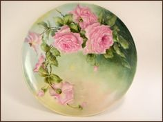 """Antique Limoges Porcelain Wall Charger Plate Hand Painted Pink Roses 11 1 4"""" 