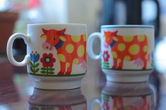 Vintage child cups by Graziela, a German designer from the seventies.