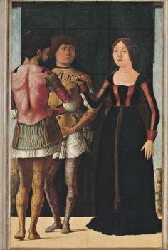 Ercole de' Roberti e Giovan Francesco Maineri, Lucrezia, Bruto e Collatino, c. 1486-1493, tavola, cm 44,9 x 36,8, Modena, Galleria Estense