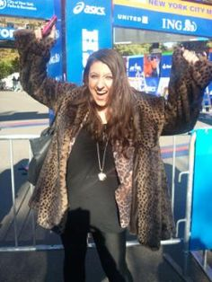 So happy I was allowed to run the marathon in my leopard coat!