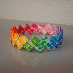 DIY project in which you can recycle Starburst wrappers and turn them into bracelets!