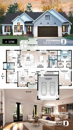 Modern House Plans 29567 The closest I've seen to what I want, but both bedrooms have their own bathroom. And add a bath. Sims House Plans, House Layout Plans, Family House Plans, New House Plans, Dream House Plans, Modern House Plans, Small House Plans, House Layouts, House Floor Plans