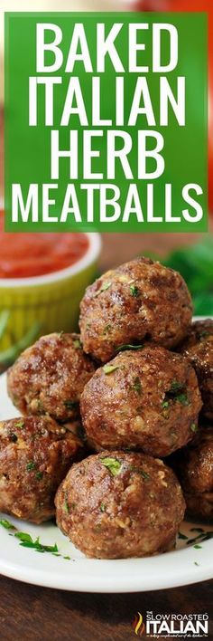 Italian Herb Baked Meatballs are the perfect recipe to learn how to make meatballs the right way. They are truly the most amazing meatballs we have ever had. Our baked meatballs are beautifully browned on the outside and tender and juicy on the inside. Baked Meatball Recipe, Meatball Bake, Meatball Recipes, Pork Recipes, Cooking Recipes, Barbecue Recipes, Cooking Tips, Recipies, Italian Dishes