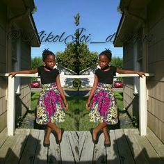 Kids African print midi skirt #ankara #wax #kidfashion #kidstyle #NikolJoiDesigns #fashionatanyage #peachy