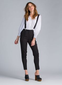 On The Low Suspender Pants BLACK