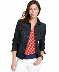 Tommy Hilfiger Denim Jacket - Jackets & Blazers - Women - Macy's Just bought this... Super cute cut, and I love that it isn't too thick and bulky.