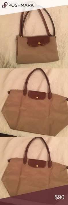 Longchamp Le Pliage large tote Nylon tote in beige. Only used a few times, a few light marks on the bottom. Longchamp Bags Totes