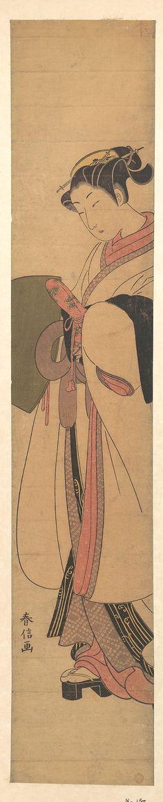 A Girl as a Komuso  Suzuki Harunobu  (Japanese, 1725–1770)  Period: Edo period (1615–1868) Date: ca. 1768 Culture: Japan Medium: Polychrome woodblock print; ink and color on paper