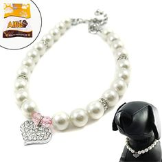 Alfie Couture Designer Pet Jewelry - Pinky Crystal Heart Pearl Necklace - Size: S for Dogs and Cats : Dog Accessories : Pet Supplies Dog Jewelry, Animal Jewelry, Pearl Jewelry, Funky Jewelry, Dog Necklace, Necklace Sizes, Pearl Necklace, Bling, Pretty Necklaces