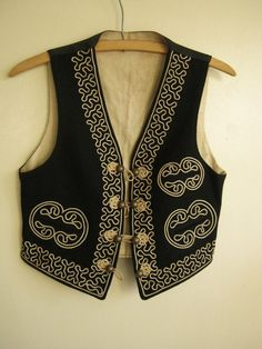 1930s 1940s mariachi vest black wool with ivory by edgertor