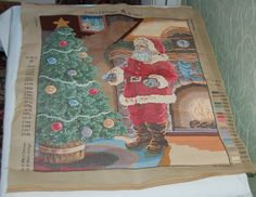Unfinished Tapestry Santa Christmas Tree log fire Collection DArt DMC free post | eBay