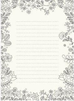 Postpapier om in te kleuren - Flowers Printable Lined Paper, Free Printable Stationery, Printable Letters, Caligrafia Copperplate, Planner Writing, Floral Embroidery Patterns, Bullet Journal Ideas Pages, Stationery Paper, Budget Planner