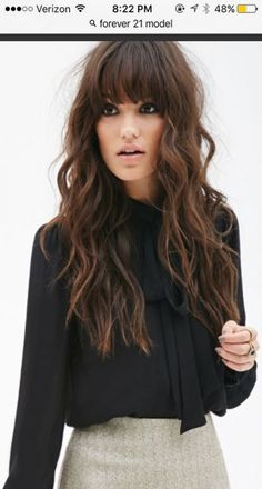 Hairstyles with bangs 2019 - Madame hairstyles - Beauty - frisuren Hairstyles With Bangs, Cool Hairstyles, Full Fringe Hairstyles, Long Brunette Hairstyles, Layered Hairstyles, Hairstyles 2016, Medium Hair Styles, Curly Hair Styles, Hair Medium