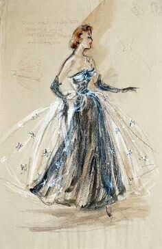 this illustration looks like its done with pastels,showing layers and dots to show the top layer as a see through fabric very elegant