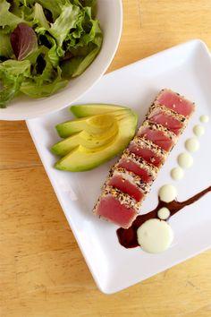 Seared Ahi Tuna Salad w/ Soy Ginger Reduction + Wasabi Aioli serve w/ salad or Tuna Recipes, Cooking Recipes, Healthy Recipes, Healthy Food, Seafood Recipes, Snack Recipes, I Love Food, Good Food, Yummy Food