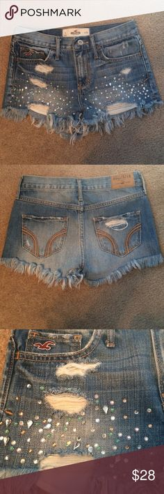 Hollister Bejeweled Distressed Shorts Light color denim distressed hollister shorts with rhinestone and beads as pictured. Gently used but in excellent condition. The waist is 24 inches Hollister Shorts Jean Shorts