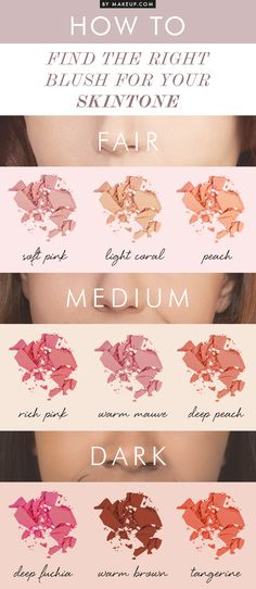 How to Find the Right Blush for Your Skin Tone  Tutorial > http://www.makeup.com/right-blush-for-your-skin-tone/